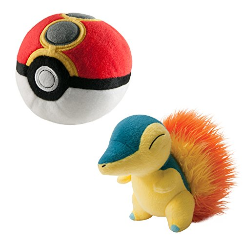 Pokémon Tomy peluche | Fuoco riccio e repeat Poké Ball–Gioco Set | Peluche per Bambini a partire dai 3anni | Peluche–Ideale come regalo Figura ca. 20cm, Palla di Peluche