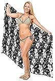 LA LEELA Damen Blumen Strand Vintage-Wickelrock Badebekleidung Bikini Sarong Kleid Badeanzug vertuschen schwarz