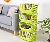 Kelly' Harvest House 4-stufiger Kunststoff-Aufbewahrungsschrank Ständer Stapelbarer Korbspeicher Organisieren (Farbe : Green)