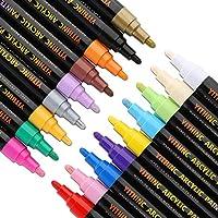 Acrylic Paint Pens,YITHINC Set of 18 Marker Pen for Rock Painting, Ceramic, Porcelain, Glass, Stones, Pebbles, Fabric, Canvas,Wood & DIY Mug Design,Permanent Water Based Medium Tip [Quick Dry]