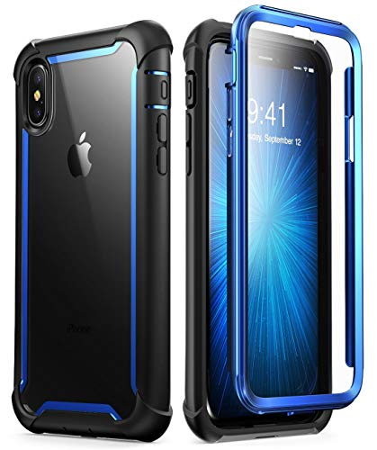 i-Blason Cover iPhone Xs Max, Custodia Rigida a 360 gradi Protezione per Schermo Integrata [Serie Ares] Rugged Case Compatibile con iPhone Xs Max 2018, Blu