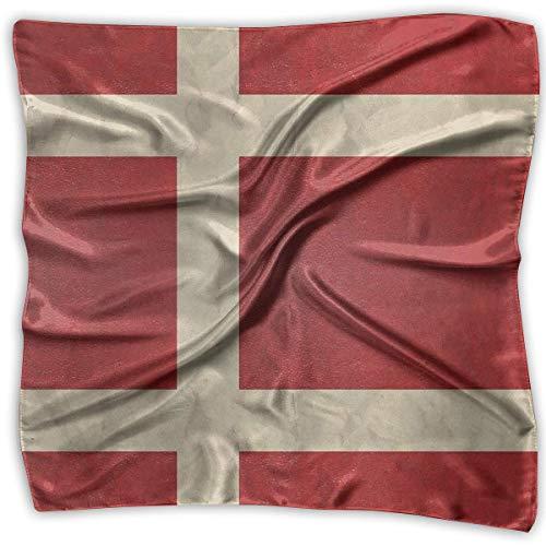 Danish Flag Woman Multifunctional Lightweight Wrap Headwear Emulation Silk Scarf Square Scarf Shawl Headscarf Headdress Raiders Womens Hüte