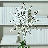 Große Tannenbaumspitze - 3D Stern Ornament - Durchmesser: 30cm - Farbe: Silber - Hochwertiger Christbaumschmuck