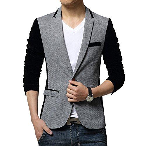 Vividda Herren Sakko Business Anzug Kurzmantel Klassische Jacket Blazer  Lange Veloursärmel mit. e02732b73f