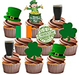 St Patrick's Day Party Pack, Cake Decorations - Edible Stand-up Cupcake Toppers (36 pack)