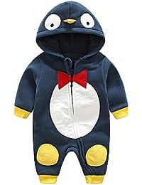 Muchachos Animal Bebé Unisex - Nacido Infantil Animales Buzos Manga Larga Algodón Trajes Mameluco Para Chicas Chicos Pingüinos Azul marino 0-3 Meses