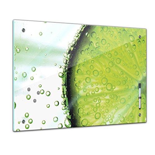 Memoboard - 60 x 40 cm, Essen und Trinken - Limonenscheibe - Memotafel Pinnwand - Frucht - Früchte - Obst - Eis - Wasser - Limone - Zitrusfrucht - Küche - Küchenbild - Esszimmer - Zitronenbild