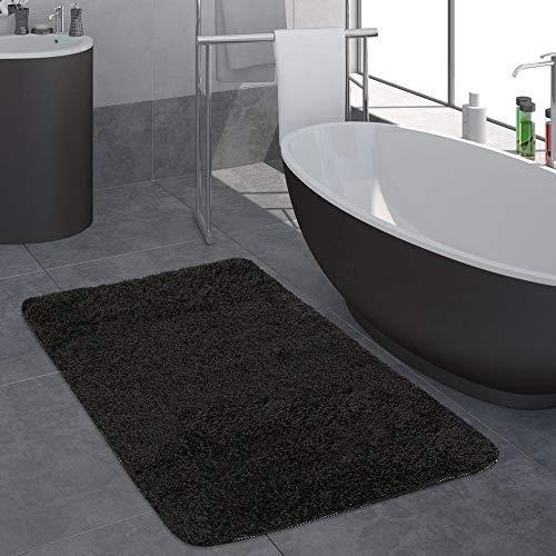 Paco Home Badezimmer Teppich Einfarbig Hochflor rutschfest In Versch. Größen u. Farben, Farbe:Schwarz, Grösse:50x80 cm (Teppiche Für Badezimmer)