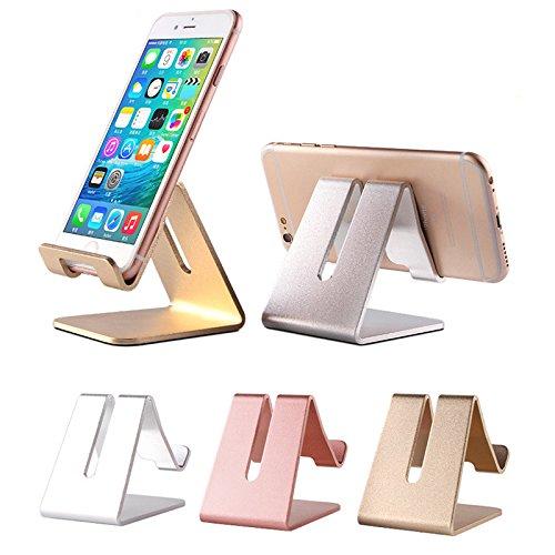 iPhone soporte, teléfono móvil soporte, aluminio sólido soporte de sobremesa de metal, soporte, soporte, Dock, soporte para interruptor, para iPhone X, todos los smartphone Android, Universal teléfono accesorios para (oro rosa)