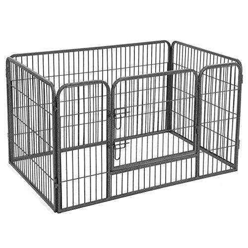 SONGMICS Welpenfreigehege Welpenzaun Hundegehege Laufstall Zaun Gitter Hasen Kaninchen (Grau) PPK74G