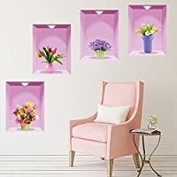 Creative DIY 3D Vase wall stickers Liing Room Decoration Bedroom Mural