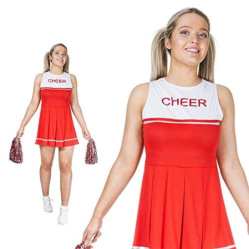 Cheerleader Monster Kostüm - Monster Cheerleader Kostüm rot Größe M Damen Weiberfastnacht Karneval 50058