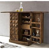 Driftingwood Sheesham Wood Bar Cabinet for Living Room   Wine Storage   Brown