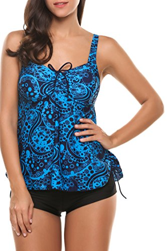 Print Tribal Badeanzug (Avildove bikini Set Badeanzug bauchweg Bademode Damen mädchen gepolsterte Backless Print Two Piece Tribal Tankini Solid Boyshort monokini mit schorts + slip)