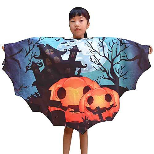 Lazzboy Kinder Jungen Mädchen Halloween Print Cape Schal Poncho Schal Wrap Bat Kleidung(M,Blau)