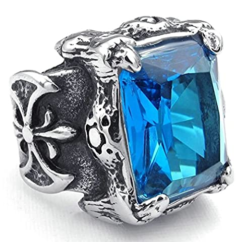 Gnzoe Jewelry,Mens Stainless Steel Rings Bands, Punk Gothic Dragon Claw CZ Ring Silver Blue Size V 1/2