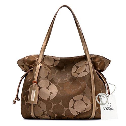 Yoome Segeltuch-Einkaufstaschen Große Kapazitäts-elegante Taschen für Frauen-Art- und Weisebeutel für Mädchen-Schultasche - Rot Kaffee