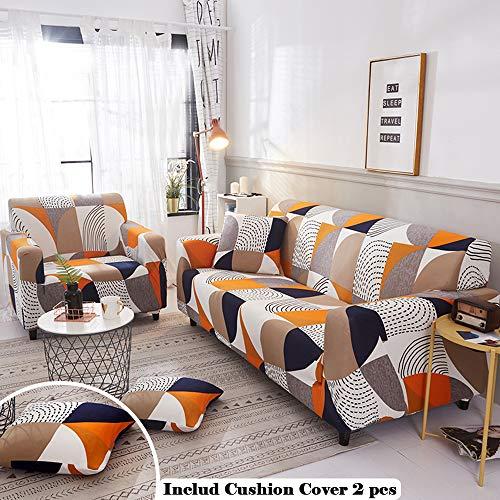 Meiju copridivano con penisola angolare senza braccioli, antiscivolo elasticizzato universale copridivani divano protettore + 2 x federa per cuscino (3 posti,puzzle arancione)