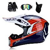 MRDEER Motocross Helm Adult Off Road Helm mit Handschuhe Maske Brille, Unisex Motorradhelm Cross Helme Schutzhelm ATV Helm für Männer Damen Sicherheit Schutz,A,M