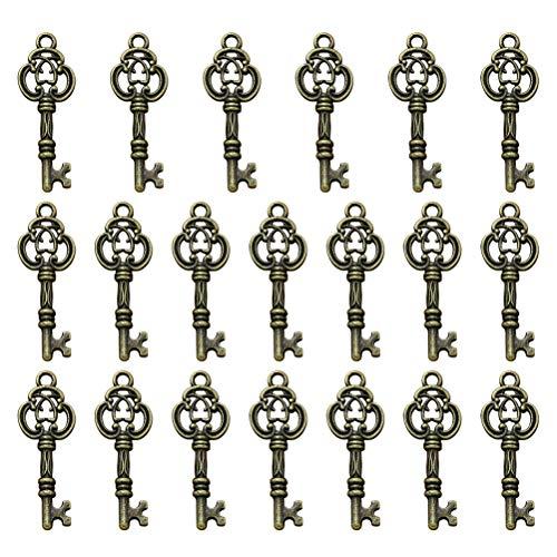 TENDYCOCO 20 stücke Legierung Schlüssel Anhänger Charms DIY Schmuckherstellung Zubehör für Halskette Armband ()
