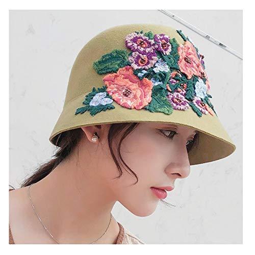en Wolle Melone Winter Herbst Kleid Hut Blume Stickwolle Fedora British Retro Damenbekleidung (Farbe : Light Green, Größe : 56-58CM) ()