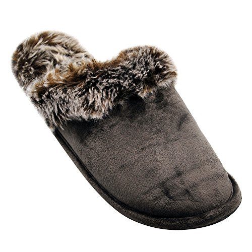 Alxcio Wildleder Hausschuhe Hüttenschuhe Unisex Slipper Herren Damen Schuhe Warm Gefuettert Pantoffeln für Mädchen Junge, Grau Leichter Kaffee