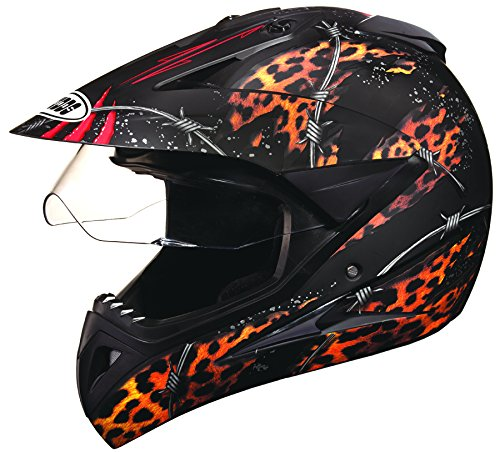 Studds Motocross D1 Full Face Helmet (Matt Black N12, XL)