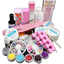SKY Lovely !!!Completo Acrílico Glitter Powder Glue Archivo Francés Nail Art Gel UV Tips Kit Set 18 colores diferentes polvo acrílico con 3 botellas adicionales de color blanco, claro y rosa