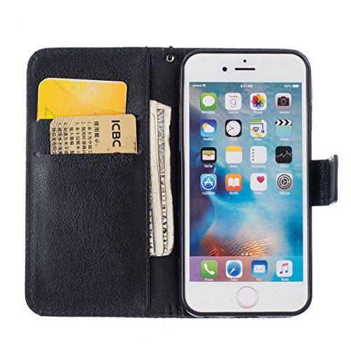 iPhone 6S Custodia, Felfy Flip in PU pelle Portafoglio Custodia Cover Gatto Design per Apple iPhone 6/6S, Portafoglio Wallet / Libro /Cuoio Chiusura Magnetica Porta carte di Protettiva Tasca Copertina C-Rose Fiori