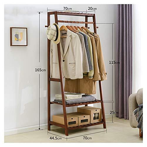 QPSGB Einfache Retro Garderobe, Boden Holz Garderobe Einfache Rack, Home Schlafzimmer Holz multifunktionale Kleiderständer (Color : Brown, Size : 70cm) -