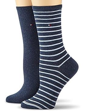 Tommy Hilfiger Damen Strick Socken TH SMALL STRIPE, 2er Pack, 100 DEN
