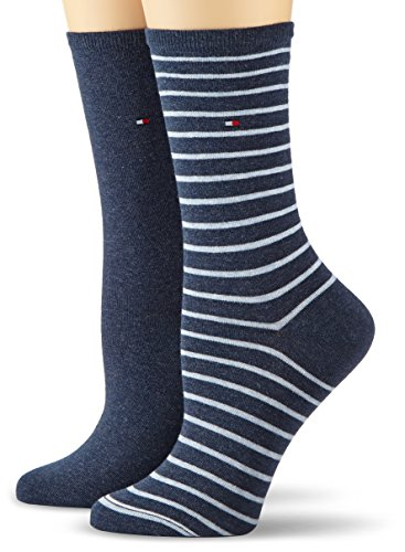 Tommy Hilfiger Damen Socken TH SMALL STRIPE 2P, 2er Pack, Gr. 39/42, Blau (jeans 356)