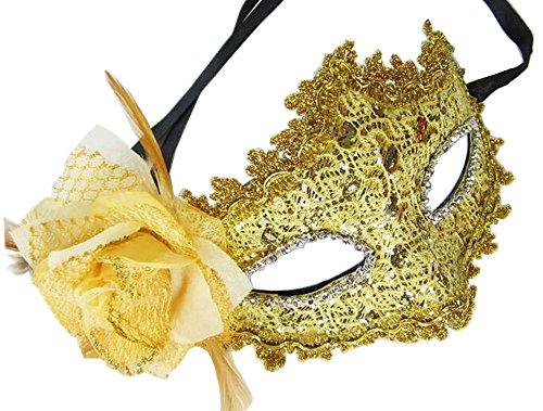 Kostüm Venitiens - Elegante Maskerade Maske Venezianische Augenmaske mit Blume, Gelb