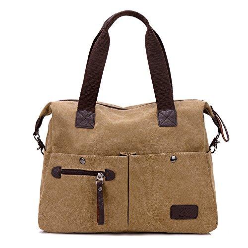 Leobtain Women Handbag Multi Pocket Large Shoulder Bag Crossbody Bag Messenger Bag Tote Handbag Canvas Zipper Bags for Travel Shopping and Work Conran White