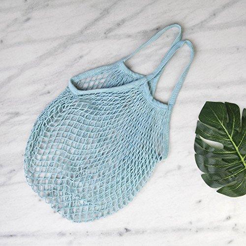 1x Netzbeutel Bio-String Baumwolle Einkaufen Kurzen Griff Wiederverwendbaren Tasche Beige