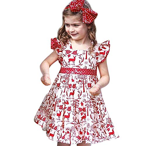 Huihong Baby Mädchen Weihnachten Kleider Hirsch Druck Rüschen Mullbinde Kleider Ärmellose Weihnachten Kostüm Party Kleider + Stirnband (Weiß, 3-4 Jahre/120)