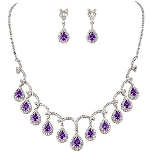 February BirthsTon Elegant Tropfen Dangle Halskette Ohrringe Set lila Silber-Ton ()