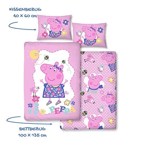 Peppa Wutz Mädchen-Bettwäsche · Kinderbettwäsche/Babybettwäsche · Lila, Rosa, Pink · PEPPA PIG Sunny Day · Wendebettwäsche · Kissenbezug 40x60 + Bettbezug 100x135 cm - Reißverschluss - 100% Baumwolle (Baby-vogel-bettwäsche)