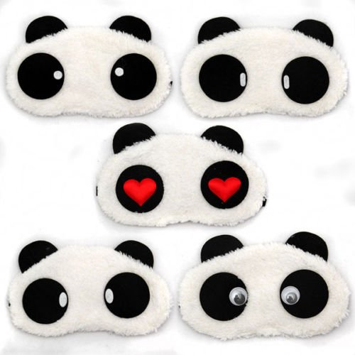 1 X Panda Gesichts Augen Pluesch Masken Augenbinde Schlafbrille Reise Schlafen Schlafmaske Express Maske