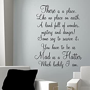 MAD AS A HATTER ALICE IN WONDERLAND WALL STICKER DECALS MEDIUM 60 Cm X 120  Cm Part 75