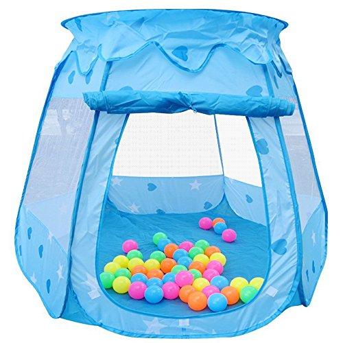 Kinder Spielzelt Princess Pop Up Tent Haus Castle Bällebad Ballpool Bällepool für Baby Kind Indoor Outdoor OHNE Bälle - Blau
