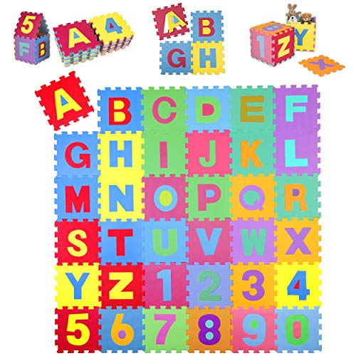 KIDUKU® 86 teilige Puzzlematte Kinderspielteppich Spielmatte Spielteppich Schaumstoffmatte Kinderteppich, Zahlen und Buchstaben, Maß je Matte ca. 31,5 x 31,5 cm