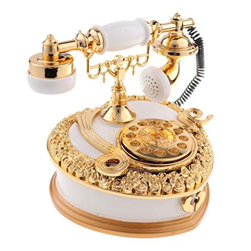 Tubayia Vintage Telefon Spieluhr Spieldose Schmuckschatulle Schmuck Box mit Schublade (Golden) (Schmuck-box Mit Schubladen)