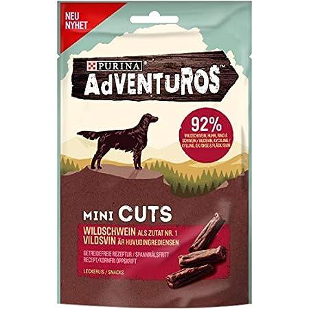 PURINA AdVENTuROS Mini Cuts Hundeleckerli getreidefrei, Hundesnack reich an Wildschwein, 7er Pack (7 x 70g)