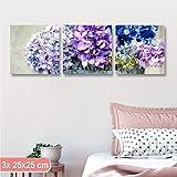 Cuadros L & C Italia Tris Hortensias Lila 1-Tres Paneles Modernos 3x (25x 25cm) Flores...