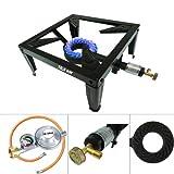 CAGO 4 Fuss Turbo 10,5 kW Gas Hockerkocher Gasbrenner Gasdruckregler Räucherofen
