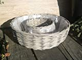 Pflanzring 30 cm Weide grau, leicht gekalkt. kein Kunststoff !! Blumen Pflanzgefäß Ring Korb Landhaus rund