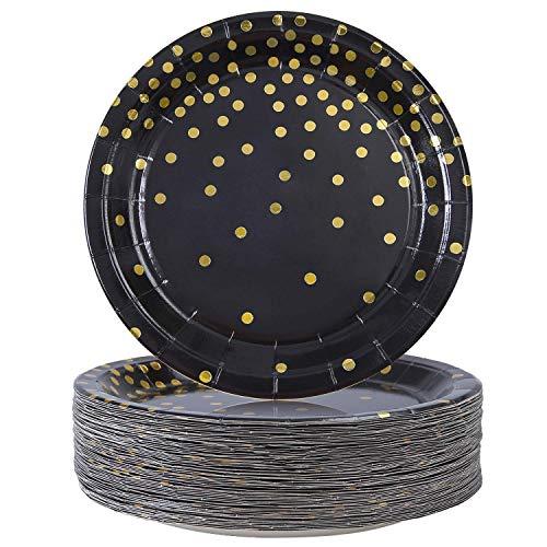 Einweg-Pappteller für Bräunungsplatten, Goldpunkte, für Abschlussfeier, Geburtstag, Hochzeit, Jahrestag, 18 cm, Schwarz, 60 Stück