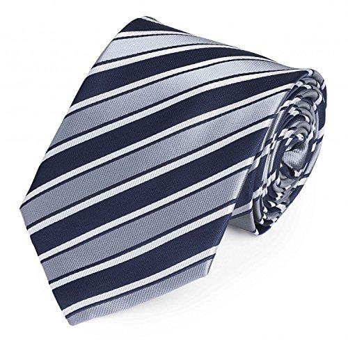 Moderne Fabio Farini Krawatte 8 cm in verschiedenen Farben, Grau-Blau-Weiß gestreift (Seidenkrawatten Blau Grau)