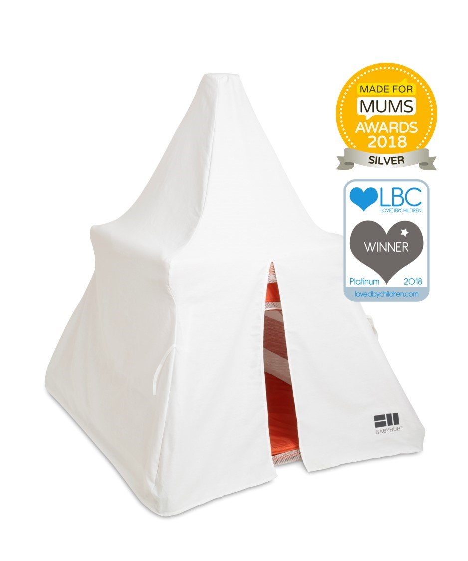 BabyHub SleepSpace Travel Cot with Mosquito Net, Orange BabyHub Three cots in one; use as a travel cot, mosquito proof space and reuse as a play tepee Includes extra mosquito net cover that can be securely in place Can be set up and moved even while holding a baby 2